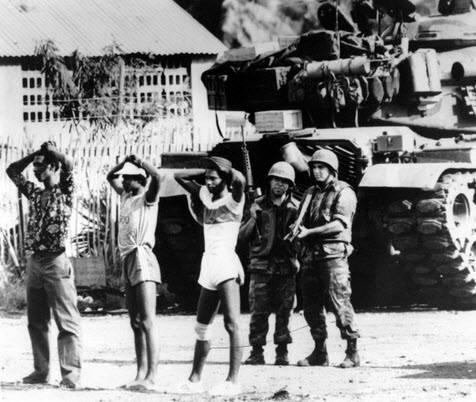 При американския десант в Гренада през 1983 г. на 100-хилядния остров са стоварени първо 1200 морски пехотинци, които бързо нарастват до 7000. Всички непослушни сред местните са взети на мушка