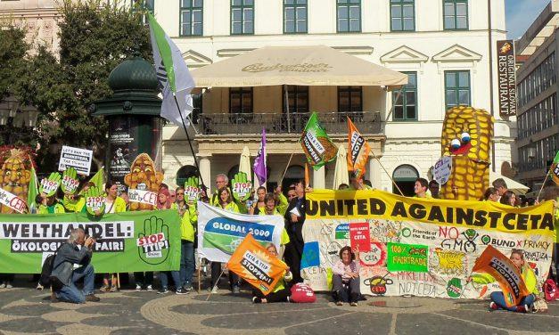 Активисти от цяла Европа показаха червен картон на СЕТА
